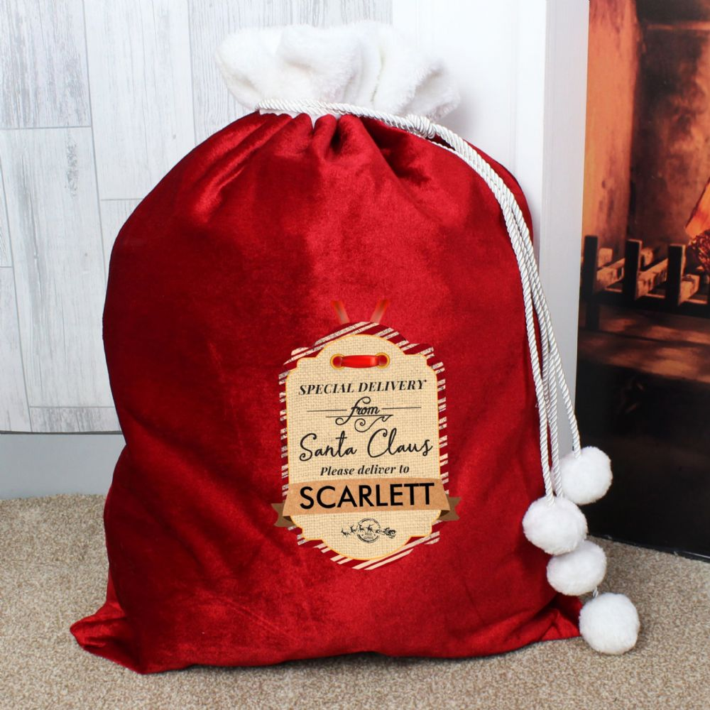 Personalised Christmas Delivery Luxury Pom Pom Sack
